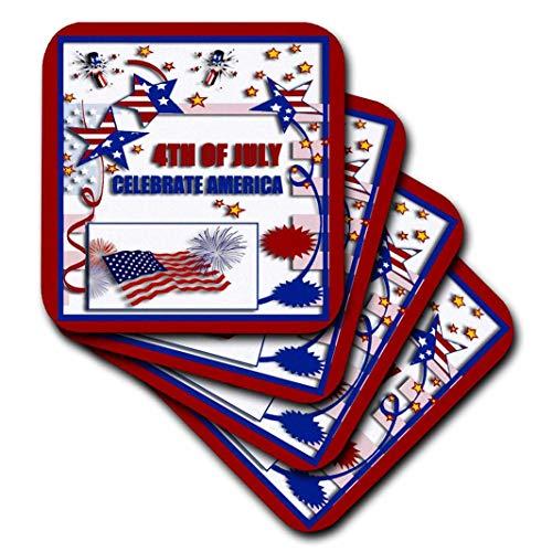 n Independence Day–4. Juli Feiern Amerika Flagge Sterne und Böllern–Untersetzer, keramik, set-of-4-Ceramic ()