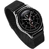 FOTOWELT para Samsung Gear S2 Classic Reloj banda, Milanese Loop de acero inoxidable Correa magnética hebilla banda para Samsung Gear S2 Classic reloj inteligente SM-R7320 SM-R732-Negro
