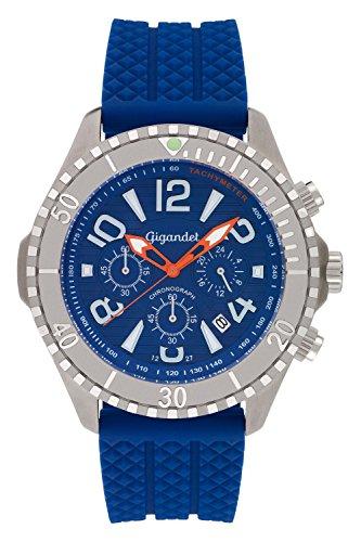 Gigandet Reloj de Hombre Cuarzo Aquazone Cronógrafo Reloj Submarinismo Analógico Silicona Azul Plata G23-004