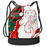Unisex Santa is A Secret Drawstring Shoulder Backpack Travel Bag