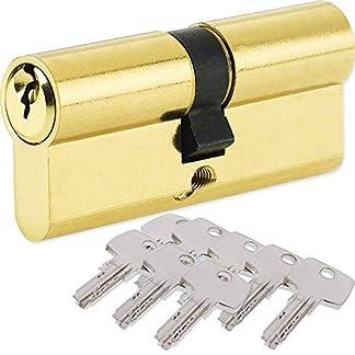 BETOY Cilindro cerradura, Cilindro de Alta Seguridad, Leva Larga, Llave – Llave, Latonado, 32.5/32.5(65mm) Cilindro de doble vuelta para puertas/entradas exteriores