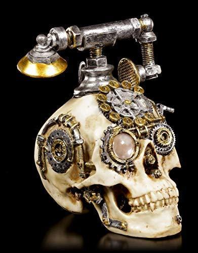 Figuren Shop GmbH Gothic Steampunk Totenkopf Telefon - Dead Ringer | Fantasy Deko-Artikel, Handbemalt - Telefon Ringer
