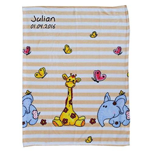 Wolimbo Flausch Babydecke mit Ihrem Wunsch-Namen und SAFARI ELEFANT GIRAFFE Motiv - personalisierte / individuelle Geschenke für Babys und Kinder zur Geburt, Taufe und Geburtstag - 75x100 cm