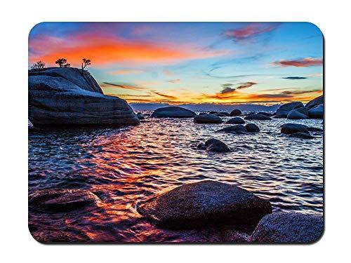 Bonsai Rock Sunset at Lake Tahoe - Customized Rectangle Non-Slip Rubber Mousepad Gaming Mouse Pad 8.6