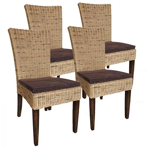 Rattanstuhl-Set Cardine, 4 Stück mit Sitzkissen Farbe Cabana