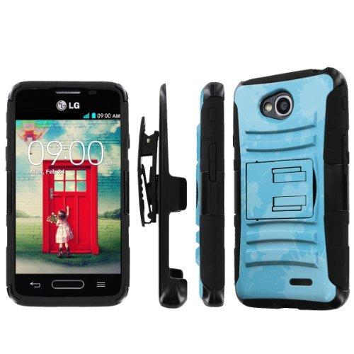 NakedShield LG Optimus L90 Nakedshield Lg Optimus L70 (Render Blue) Combat Tough Holster Kickstand Armor Phone Case