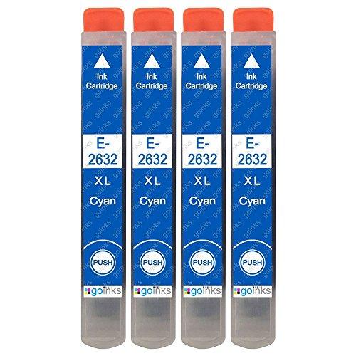 4 Go Inks cartucce di inchiostro ciano per sostituire Epson T2632 (26XL Series) compatibile/non-OEM per stampanti Epson Expression Premium
