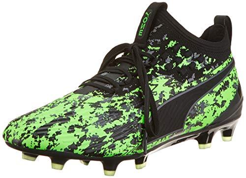 Puma Herren ONE 19.1 Syn FG/AG Fußballschuhe, Grün (Green Gecko Black-Charcoal Gray), 44.5 EU