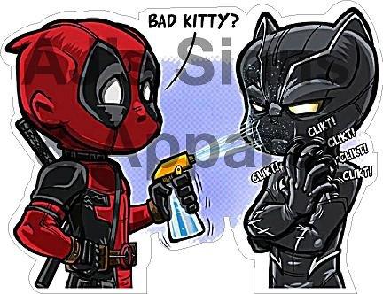 Deadpool Black Panther Bad Kitty Vinyl Aufkleber (Hello Kitty Auto Aufkleber Zubehör)
