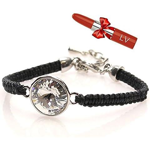 Swarovski negro y plata pulsera con Gemstone–elegante pulsera con grabado Logo–Satisfacción Garantizada–Bolsa de regalo–LV Pintalabios bolígrafo incluido.