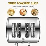 Aicok Toaster, 4-Scheiben Edelstahl Toaster mit 7 Brot Browning Einstellungen, abnehmbare Krümelschublade, Bagel/Auftauen/Abbrechen Funktion, schnell Toast Muffins, Waffel, 1400W-1700W, Silber - 3