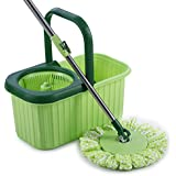 Smile Mom 360 Degree Spin Mop and Bucket Set with Easy wheels for Best Floor Cleaning & 2 Free Refill Head