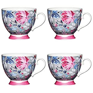 KitchenCraft Large Grey Floral Footed Flower Patterned Mugs, China, Bone Pink, 400 ml, Set of 4