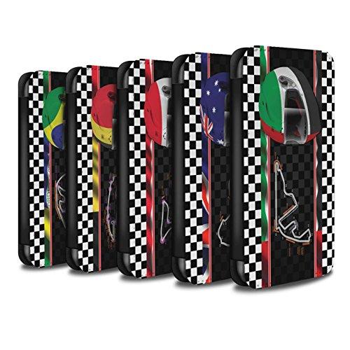 Stuff4 Coque/Etui/Housse Cuir PU Case/Cover pour Apple iPhone 7 / Espagne/Catalogne Design / F1 Piste Drapeau Collection Multipack (19 Pack)
