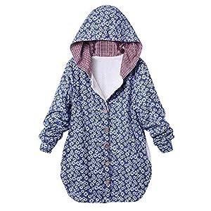 Damen Retro Mantel Plüschjacke Winterjacke Steppjacke Lose Langarm Outwear Tasche Reißverschluss Winterjacke Mode Kurz Coat von Innerternet
