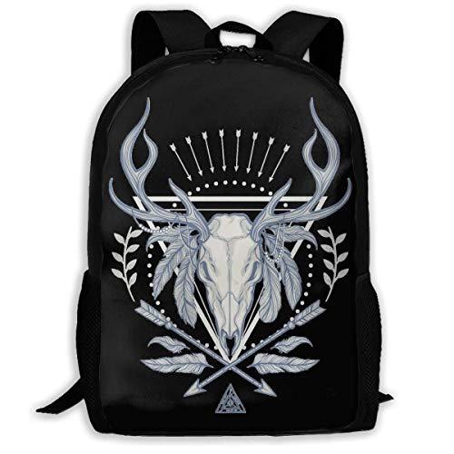 JKOVE Rucksack,Schulrucksack,Native American Deer Skull Backpack Laptop Bags Shoulder Bag College Daypack Backpacks for Unisex (Männer Für American-kleidung Native)