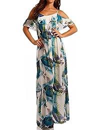Damen Hippie Maxikleid Bohemian Bodenlanges Kleid Strandkleid Carmen Ausschnitt mit Volant