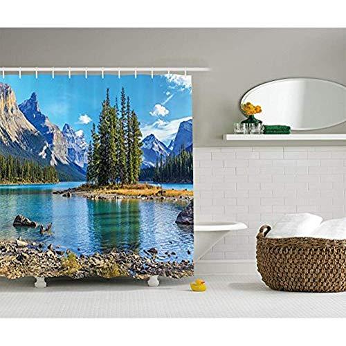 Yeuss Lakehouse Decor Collection, Landschaft von Spirit Island am Maligne Lake Canada in Einer Sommerzeit mit Bergen Image, Bad-Duschvorhang aus Polyestergewebe, Set mit Haken, grün 72 'x72' -