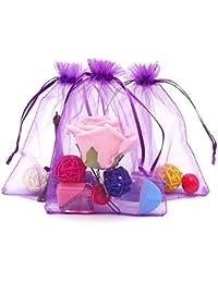 100 piezas, bolsas de organza extra grande 13X 18 cm, bolsas de regalo de organza con cordón para joyas, bolsas de regalo, bolsas de dulces, morado