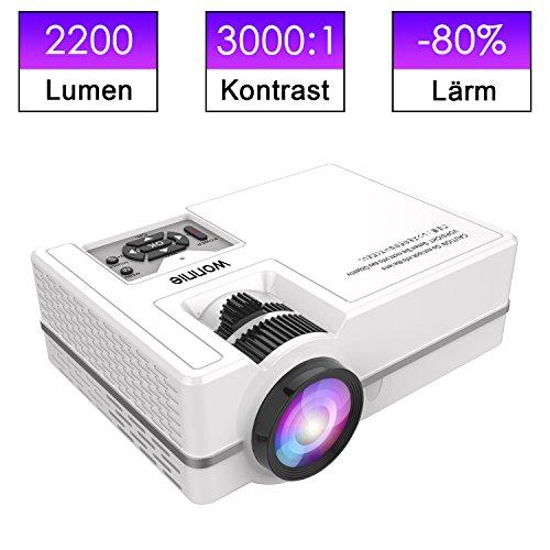 WONNIE Mini Beamer 2200 Lumen,HD tragbare Heimkino-Projektor, Unterstützung 1080P, HDMI, VGA, USB, SD, AV und Kopfhörer-Interface für Multimedia Heimkino Unterhaltung, weiß