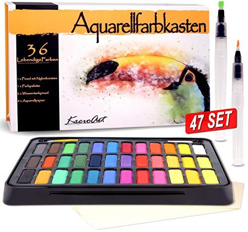 KrevoArt Aquarellfarben Wasserfarben Set, 36 lebendige Farben, 2 Wassertankpinsel, 1 Pinsel, 8 Aquarellpapier - Geeignet für Anfänger und Profis