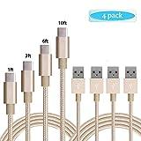[4-Pack] cble USB Type C, Kmiss 0,3m 0,9m 1,8m 3m tressé en nylon Long Cord-usb données Charge cble de chargement pour Galaxy Note 8, S8, S8+, MacBook, Nintendo, Switch, LG V20G5G6, HTC 10
