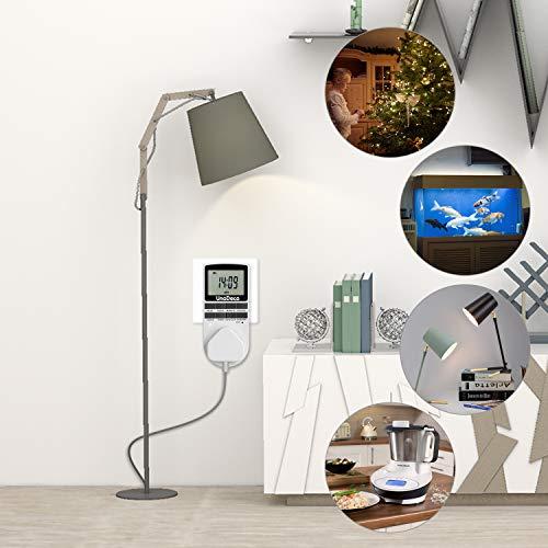 Digitale Timer, Zeitschaltuhr Täglich/Wöchentlich mit LCD-Bildschirm, 12/24H, 7 Tage, klassische Stromversorgung, energiesparend,Unodeco U002 - 2