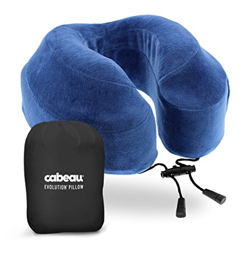 Cabeau Evolution Memory Foam Travel Pillow - The Best Neck Pillow with 360 Head & Neck Support, Cabeau Blue