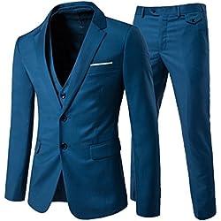 Cloudstyle Fit moderno de 3 piezas traje de chaqueta de la chaqueta del chaleco y pantalones Tux para Hombres 3XL Azul 2