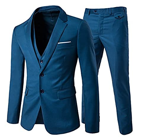 Men's Modern Fit 3-Piece Suit Blazer Jacket Tux Vest & Trousers - Blue 2 - Taille S