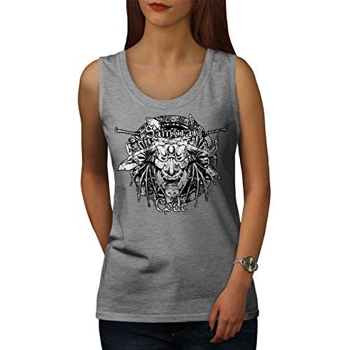 wellcoda Maske Samurai Kunst Fantasie Frau Tank Top Maske Athletisches Sport-Shirt (Samurai Frau Krieger Kostüm)