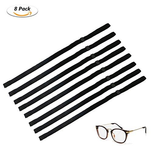 Emooqi Emooqi Eyewear Strap Brillenbänder, Einstellbarer Brille Cord Brillenband Sunglasses Retainer Anti-Rutsch Sport-Sonnenbrille Halter-Bügel Eyewear Retainer- Schwarz 8 Stück