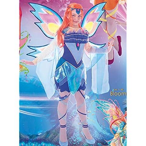 Winx Club - Costume Winx Bloomix con ali glitterate, decoro per capelli e decorazioni per gambe (7 - 9 anni, Bloom)