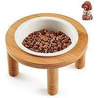 Petacc Tazón elevado para mascotas Cuencos de cerámica para gato Tazón elevado de agua para perrito con soporte desmontable de bambú, ideal para gatos y perros de pequeño tamaño