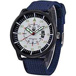 QBD Men's Boy's Date Day Water Resistant Quartz Wrist Watch Nite Luminous Night Vision Army Nylon Blue/White