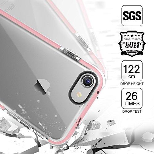 iPhone 7 Custodia ROCK Pinhen Apple iPhone 7 Case Custodia Silicone Gel Gomma TPU Cover Shock-Absorption Bumper e Anti-Scratch Clear Back per iPhone 7 (i7 Green) i7 Plus Pink