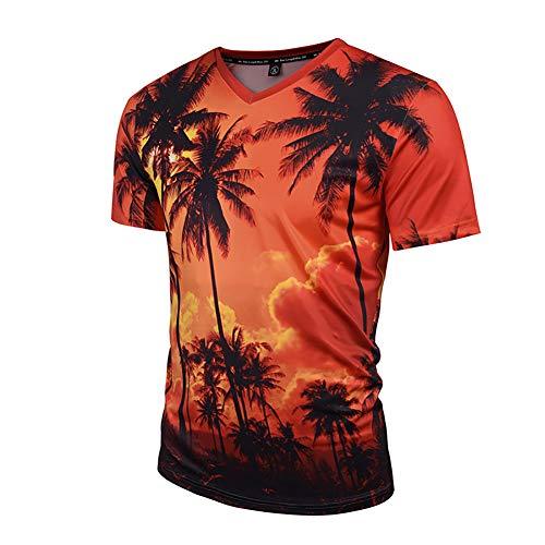 BraumZ Herren Sommer Kurzarm T-Shirt, 3D Tropical Leaf Print Kurzarm Top V-Ausschnitt Für Den Alltag Lässig,L -