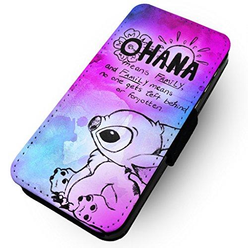 WTF | Ohana Pink & Blau Paint Splat | Kunstleder Flip-Telefon Fall |, HTC One M8 (Htc M8 Flip-telefon Fall)