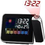 STRIR Reloj de Proyección Digital LED - Temperatura - Humedad - Reloj de Estación Meteorológica con Función Snooze - Luminancia Ajustable