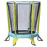 HUDORA Kindertrampolin Safety 140 Kinder Garten-Trampolin auch Indoor geeignet, grün/blau,