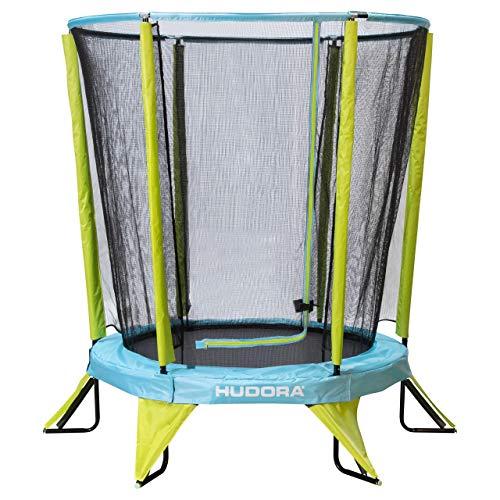 HUDORA Kindertrampolin Safety 140 Kinder Garten-Trampolin auch Indoor geeignet, grün/blau
