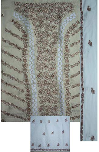 Grace Collections Women's Ethnic Cotton Lucknowi Chikankari Unstitched Dress Material (Almond Brown colour with Red and White thread and Patch work, Allover,Phanda, Murri, Plazzo Bottom with Chiffon Dupatta)