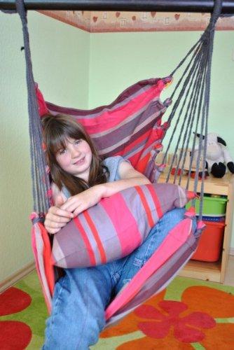 Kinderhängesessel mit Kuschelkissen in verschiedenen Farben zum Entspannen von HOBEA-Germany, Farben Hängesessel:Prinzessin