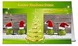 Weihnachtskarten grün WK17217, 50 Klappkarten im Set mit Umschlag