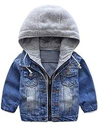 f801630a4 Niño Capucha Chaqueta Vaquera Abrigo Casual Manga Larga Cremallera Niños  Azul Jeans Tops Ropa Primavera Otoño