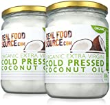 RealFoodSource Certified Organic Cold Pressed Extra Virgin Coconut Oil (1 Litre (2 X 500ml))