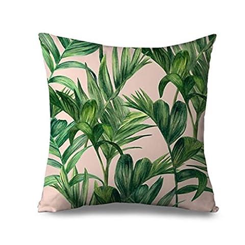 Tezoo Home Sofa Decor Tropical Banana Leaves Chair Cushion Cover Throw Pillowcase 01