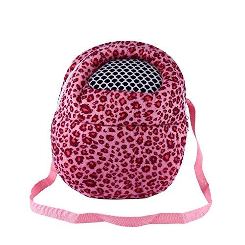 Bolso Tipo Mochila Ideal para Transporte de Erizo Diseño de Leopardo Estampado Animal Mochila de Viaje con Correa 21 x 25 cm ( Color: Rosa, Talla: L)