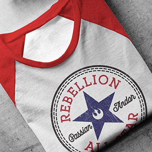Star Wars Rogue One Rebellion Cassian Converse Logo Men's Baseball Long Sleeved T-Shirt White/Red