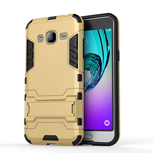 Galaxy J1(2016) Coque,EVERGREENBUYING Ultra Slim léger 2 en 1 J120 Cases Housse Etui Premium Kickstand Bumper Hard Shell Back Coque Case Pour Samsung Galaxy J1 (2016 Version) Rouge Gold
